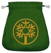 Celtic Tree Green Velvet Tarot Bag